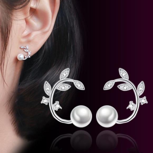 13f5eb4713840 Swarovski Crystal Leaf Pearl Ear Crawler Studs Boutique